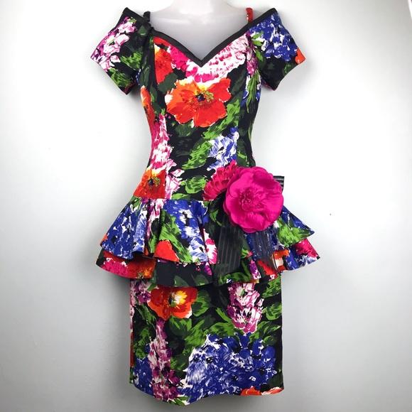 b9f3e4e418 Lillie Rubin Dresses | Black Floral Vintage Peplum Dress | Poshmark